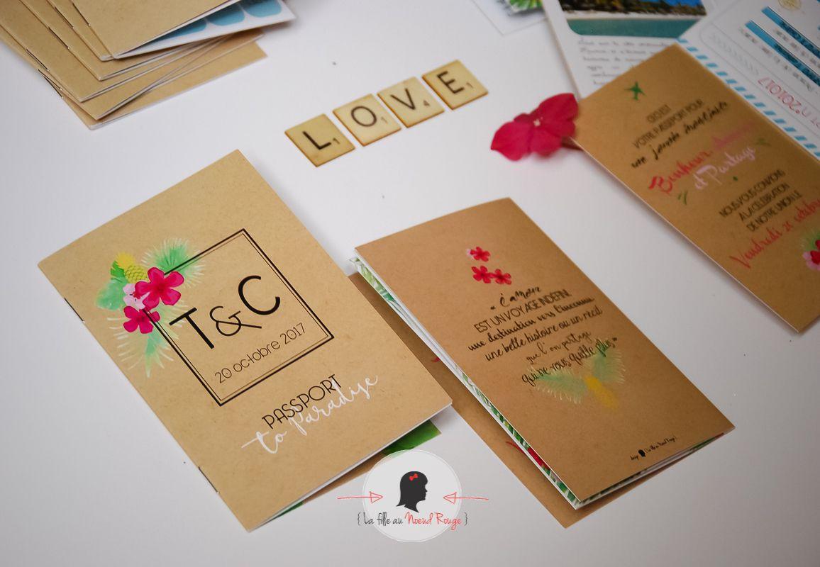 La fille au Noeud Rouge - faire part mariage personnalise passport voyage format passeport fleurs exotiques