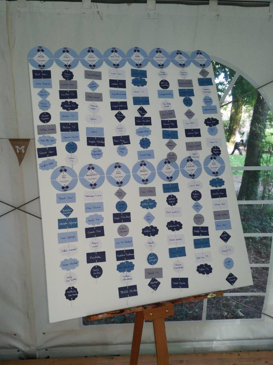 La fille au Noeud Rouge plan de table mariage graphique bleu sur-mesure lille