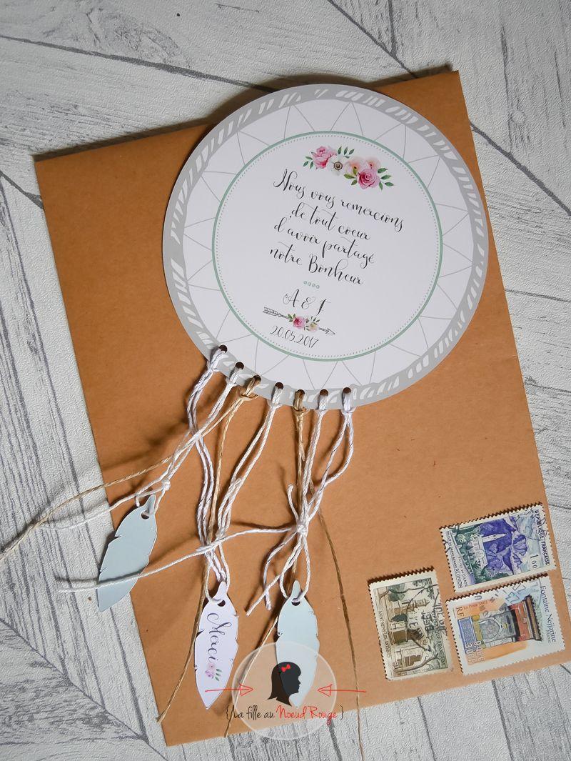 faire-part remerciement mariage champêtre attrape rêves blanc gris fleurs aquarelle flèche bohème