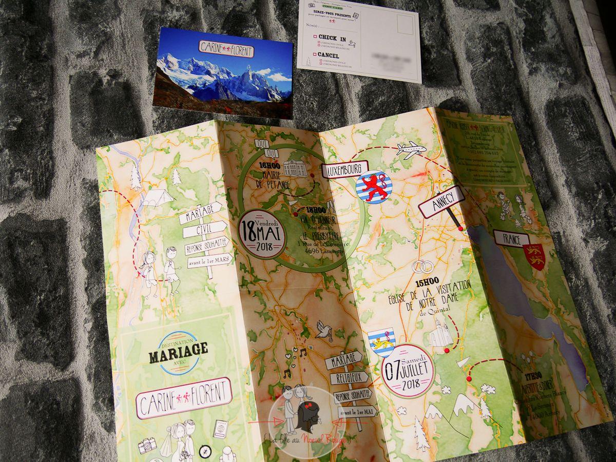 Faire-part mariage sur-mesure nature carte de randonnée ign illustration voyage coupon réponse carte postale