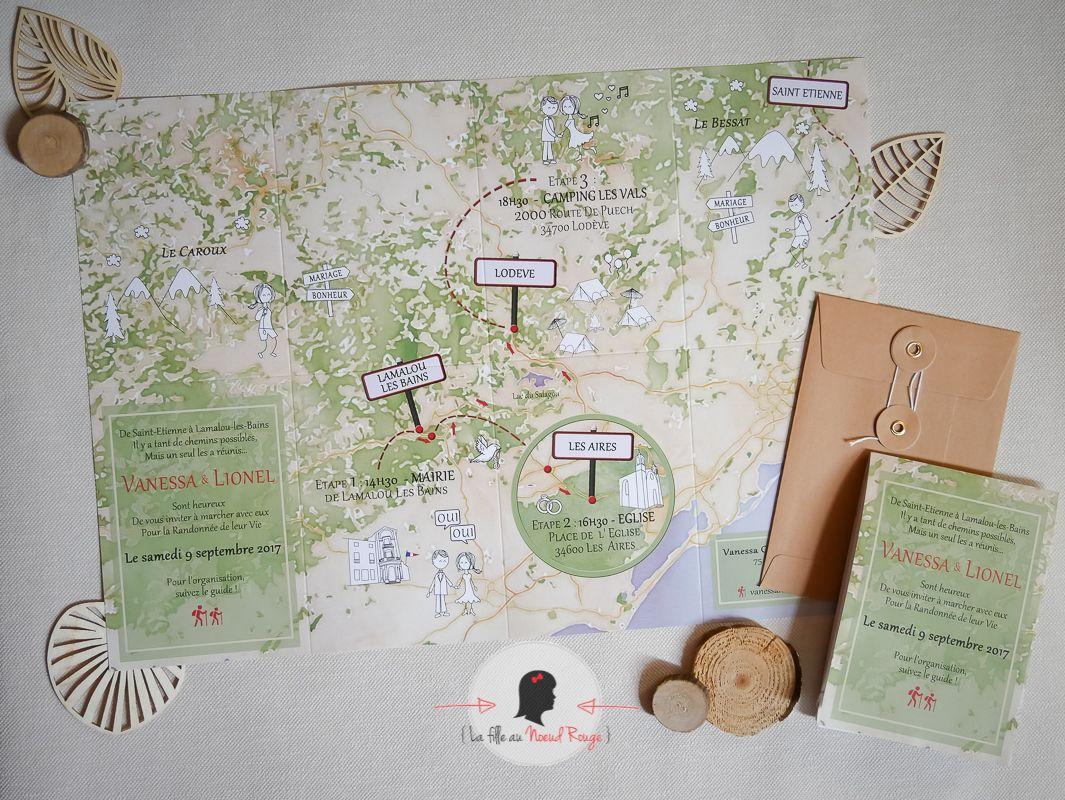 faire-part mariage sur-mesure nature randonnée carte montagne ign bois tente arbre randonneurs