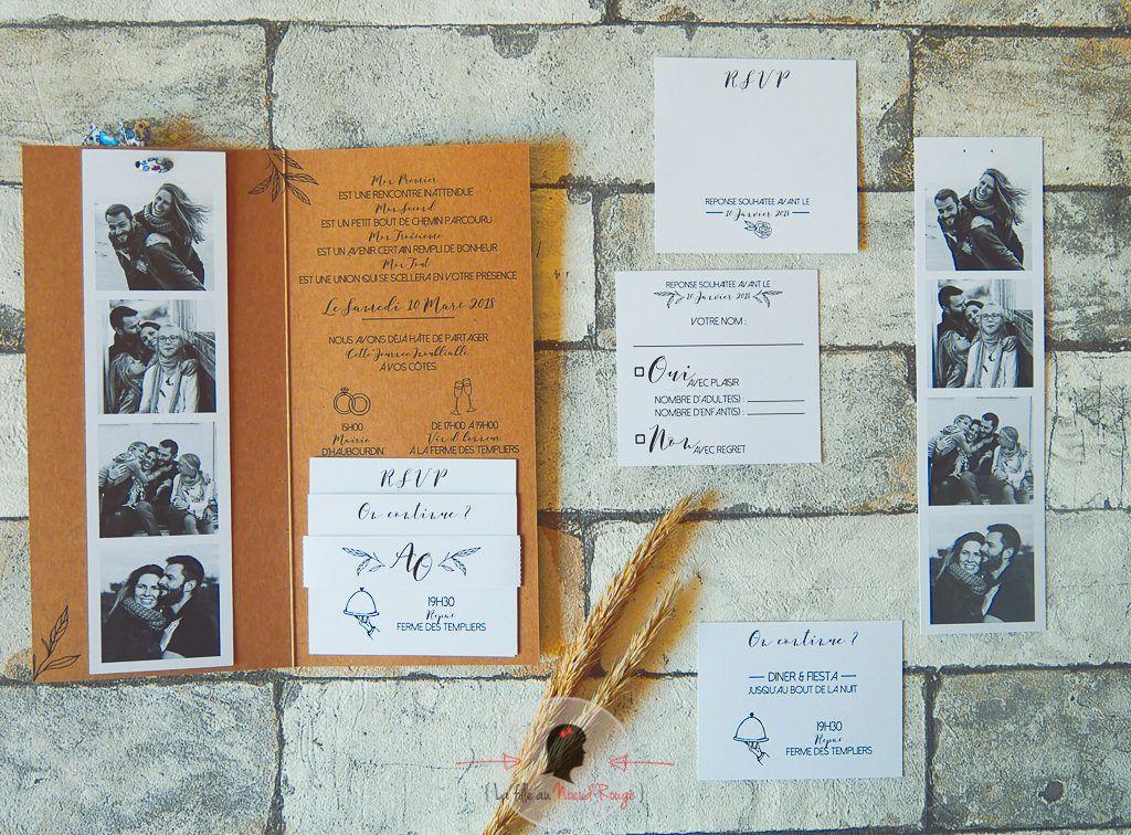 Faire-part mariage sur-mesure minimaliste champêtre kraft photomaton illustration liberty