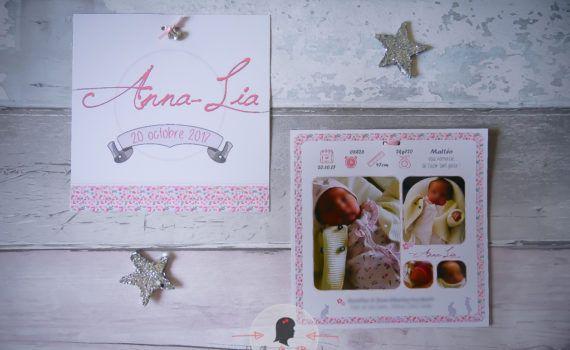 Faire-part naissance sur-mesure photo liberty fille lapin printemps rose avec symboles naissance