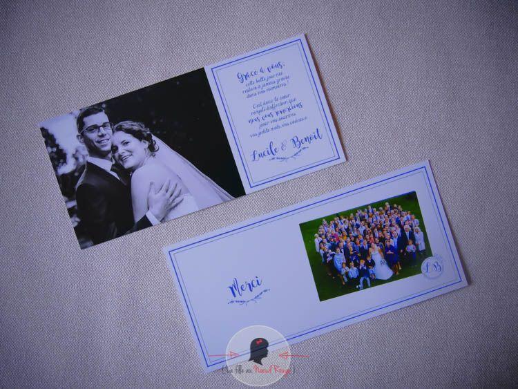 faire-part remerciement mariage sur-mesure minimaliste bleu royal avec photo logo champêtre