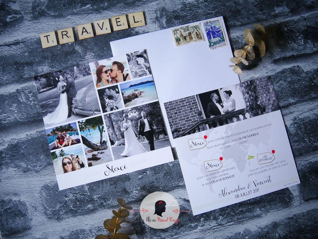 La fille au Noeud Rouge - Faire-part remerciement mariage sur-mesure voyage avion carte du monde