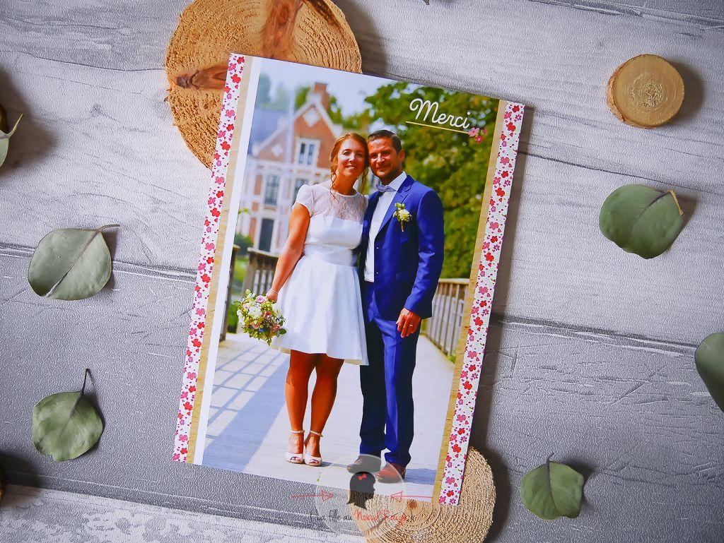 La fille au Noeud Rouge - Faire-part remerciement mariage sur-mesure liberty champêtre fleurs romantique