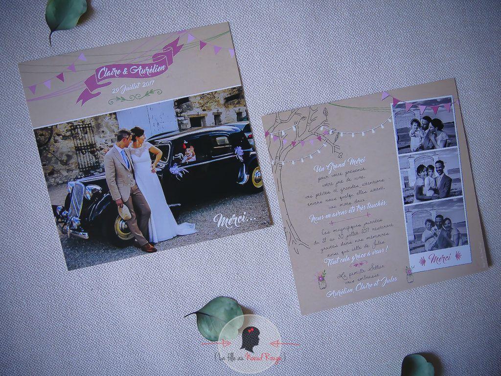 Faire-part sur-mesure remerciement mariage kraft rose illustration photomaton nature champêtre romantique mason jar fanion