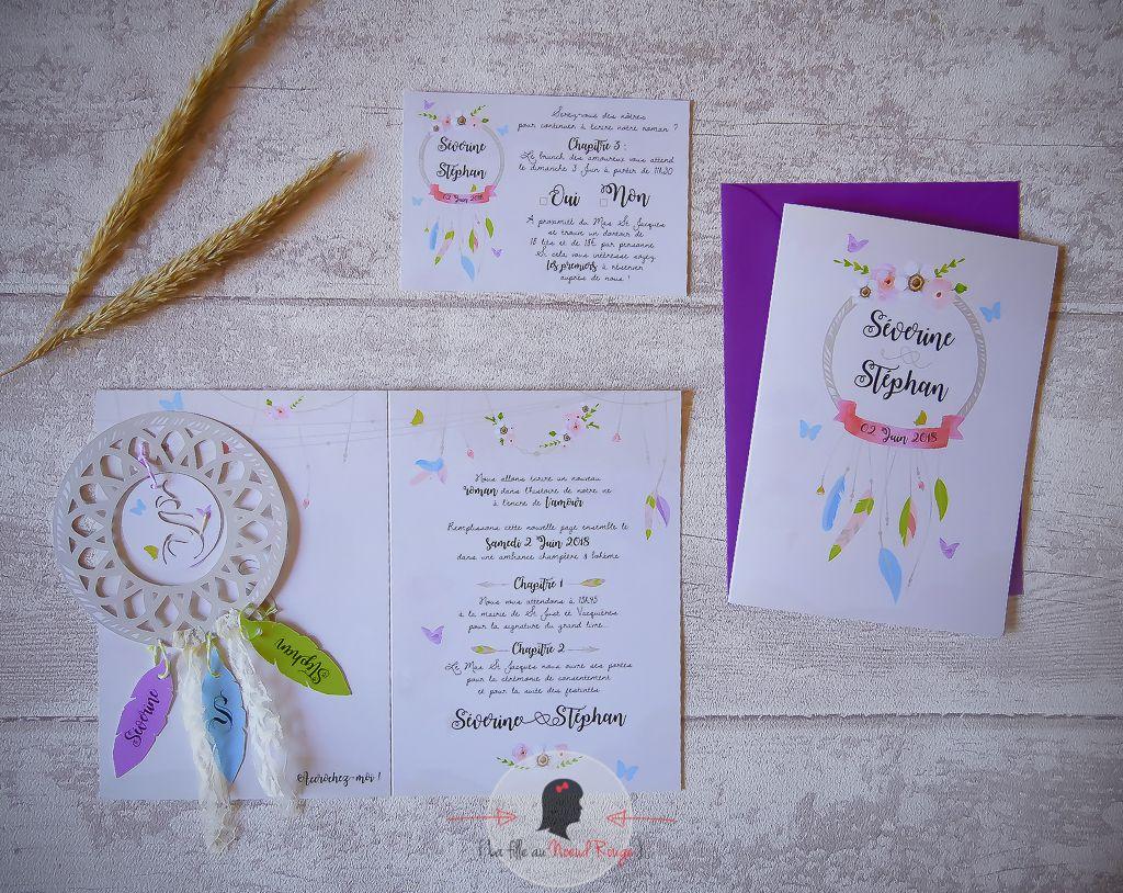 La fille au Noeud rouge - Faire-part sur-mesure mariage champêtre attrape-rêve papillon couleurs pastel plume bohème flêche