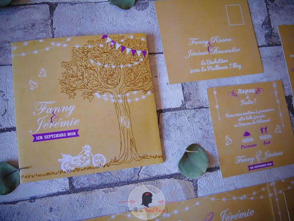 La fille au Noeud rouge - faire-part mariage champêtre arbre de vie violet time line symbole moto polaroid nature