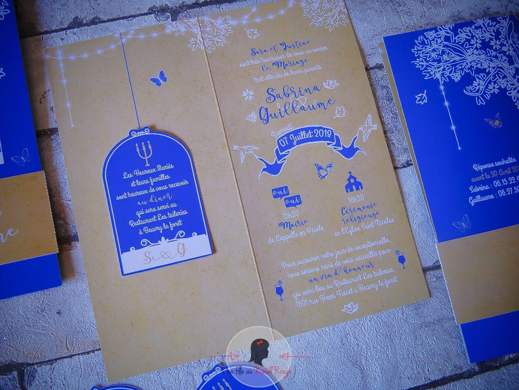 La fille au Noeud rouge - faire-part mariage champêtre envol oiseau bleu royal kraft cage arbre de vie
