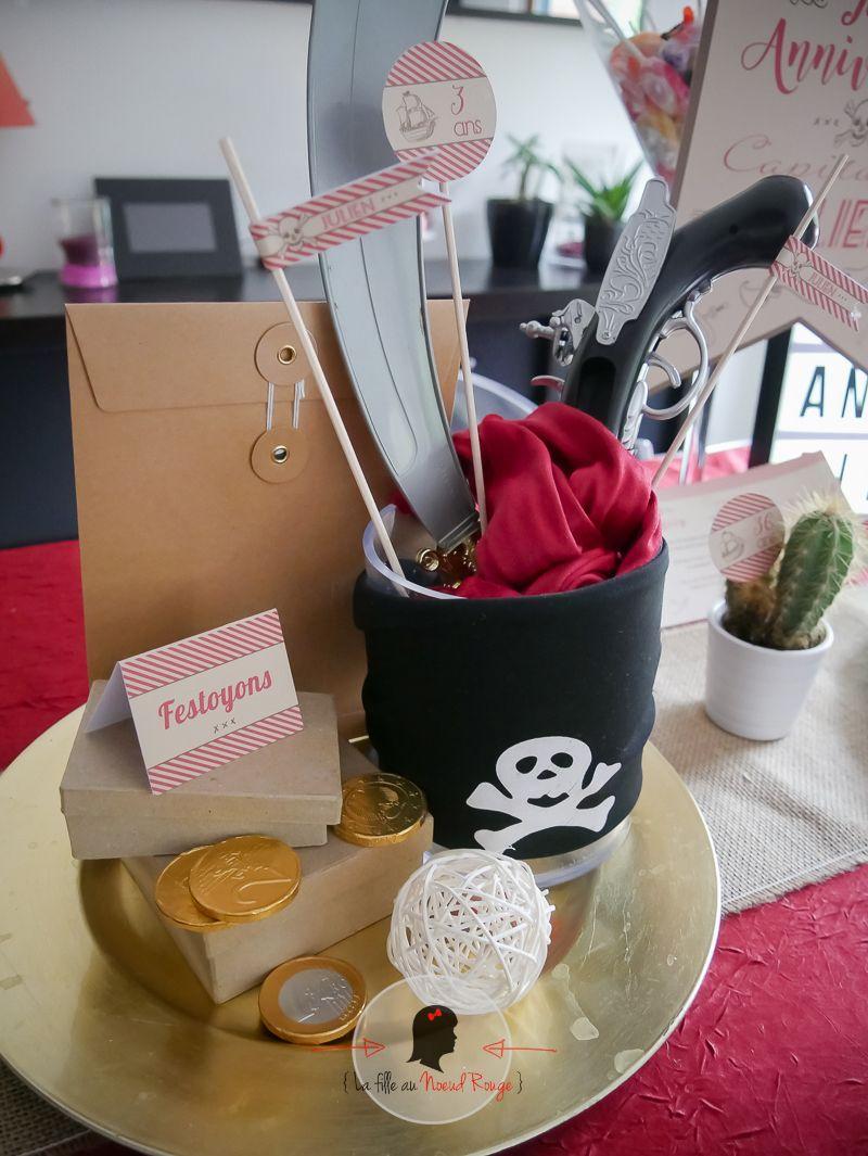 la fille au Noeud Rouge - kit candy bar anniversaire garçon pirate rouge kraft trésor
