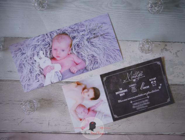 La fille au Noeud rouge - Faire-part sur-mesure naissance photo ardoise craie symboles pictogrammes