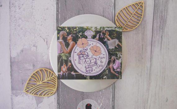 save the date mariage sur-mesure magnet alice au pays des merveilles coquelicot photo champignon moustache