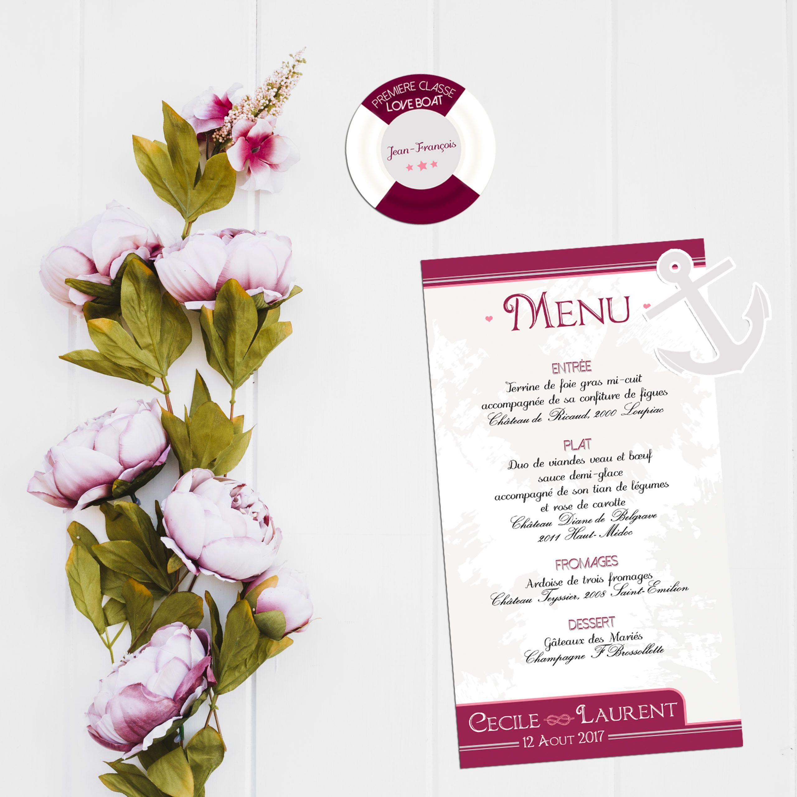 La fille au Noeud Rouge menu table décoration papeterie mariage croisière bateau ancre bouée
