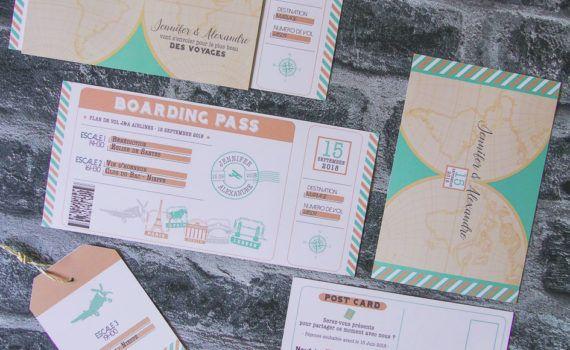 faire-part mariage sur-mesure voyage vintage vert menthe pêche pochette ticket embarquement avion vintage rétro pêche vert d'eau étiquette valise