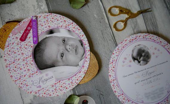 faire-part de naissance liberty rond fleur violet parme rose fille coupon remerciement