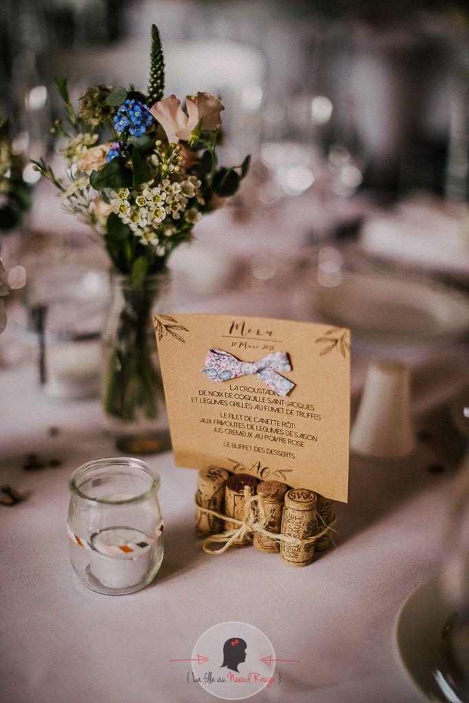 La fille au Nœud Rouge - décoration papeterie mariage champêtre kraft liberty minimaliste menu