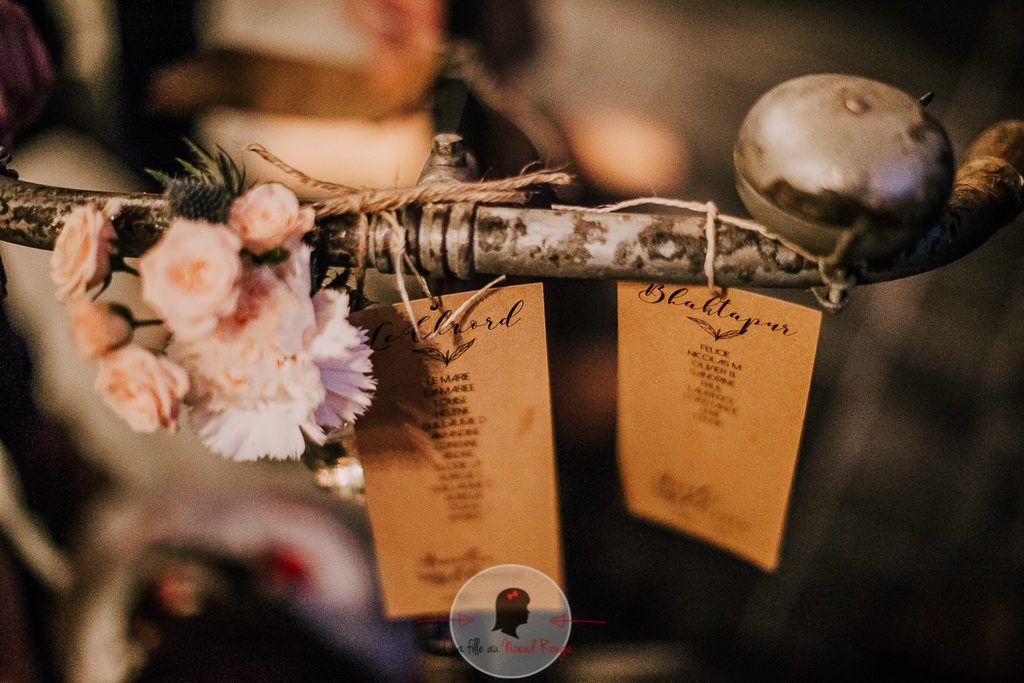 La fille au Nœud Rouge - décoration papeterie mariage champêtre kraft liberty minimaliste plan de table