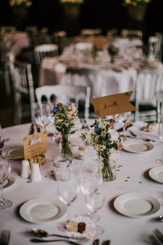 La fille au Nœud Rouge - décoration papeterie mariage champêtre kraft liberty minimaliste nom de table menu