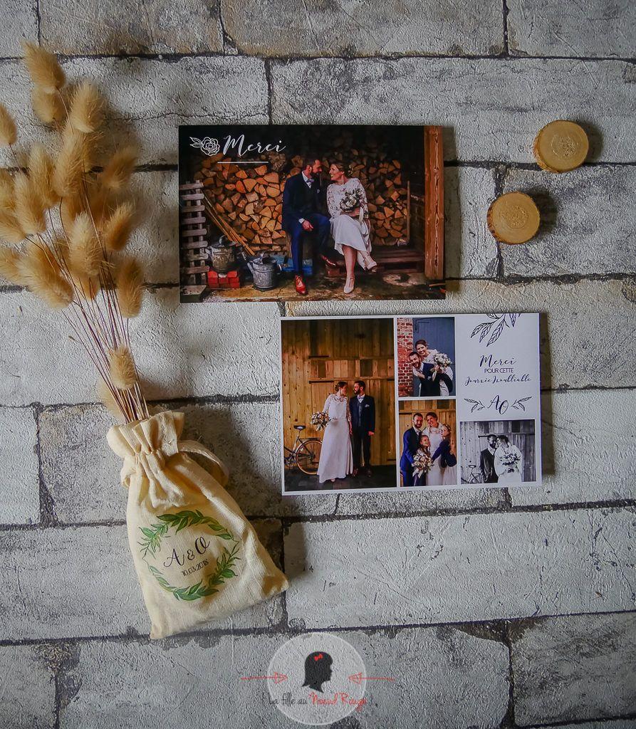 La fille au Nœud Rouge - faire part remerciement mariage champêtre végétal minimaliste bois