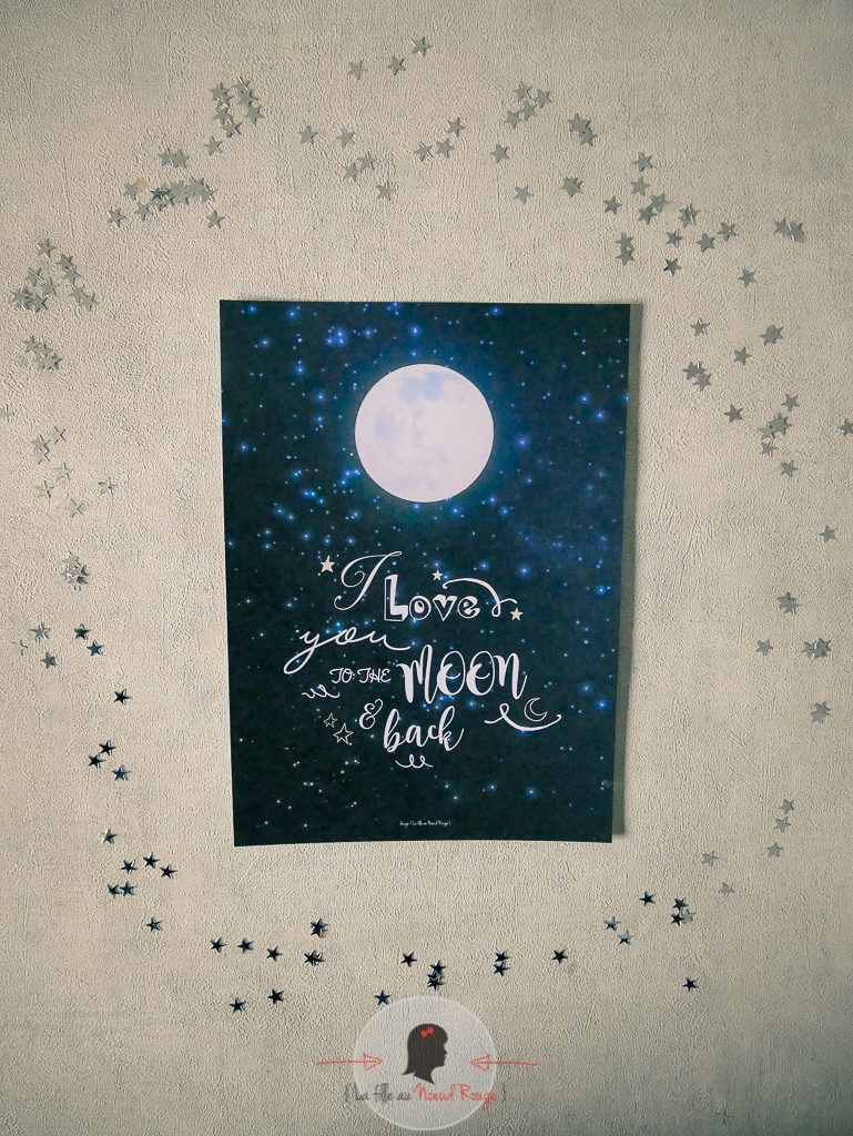 La fille au Noeud Rouge - affiche saint valentin i love you to the moon and back lune