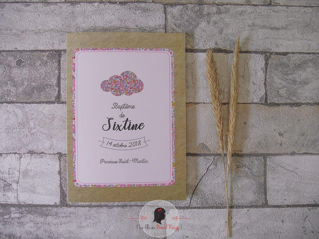 La fille au Nœud Rouge - décoration papeterie baptême fille liberty champêtre kraft rose nuage couverture livret de messe