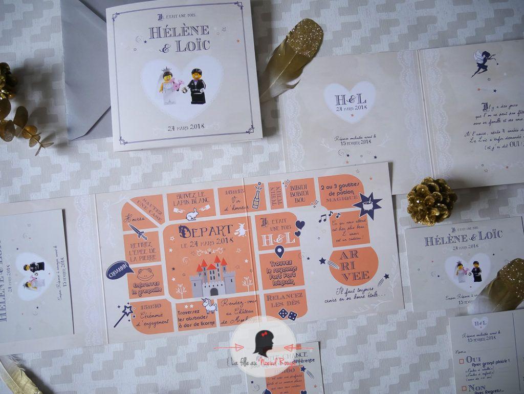 La fille au Noeud Rouge - Faire-part mariage sur mesure lego contes de fées humour jeu de l'oie coupon dîner coupon réponse