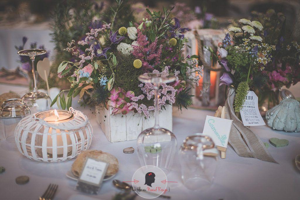 La fille au Nœud Rouge - décoration papeterie mariage élégant champêtre toile de jute menu nature