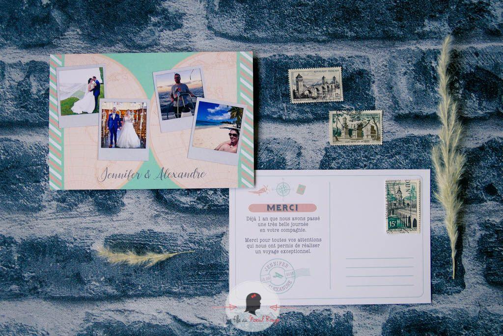 La fille au Noeud Rouge - faire-part remerciement mariage voyage carte du monde pêche vert d'eau