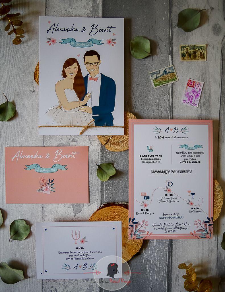 La fille au Noeud rouge - mariage champêtre illustration couleurs pastel fleurs time line programme journée symboles avec coupon dîner