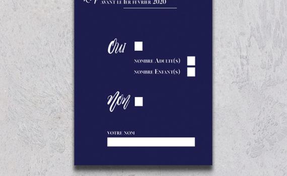 La fille au Noeud Rouge - coupon réponse rsvp mariage blue vellum