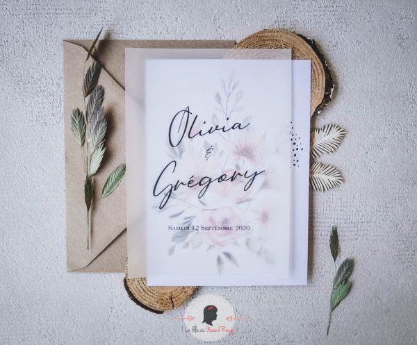 La fille au Noeud Rouge - faire-part mariage sur mesure minimaliste végétal nature fleurs aquarelle 1