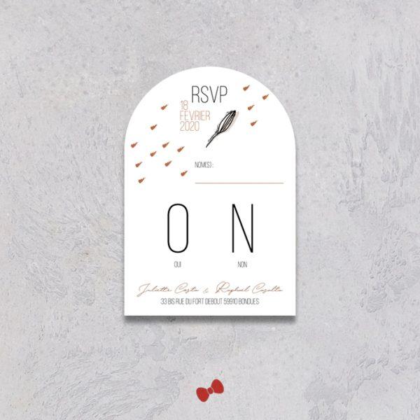 La fille au Noeud Rouge - Coupon réponse RSVP mariage terracotta minimaliste