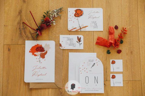 La fille au Noeud Rouge - mariage minimaliste faire-part décoration papeterie terracotta