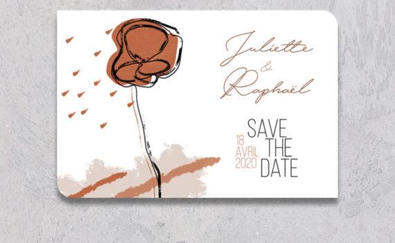 La fille au Noeud Rouge - Save the date mariage terracotta minimaliste