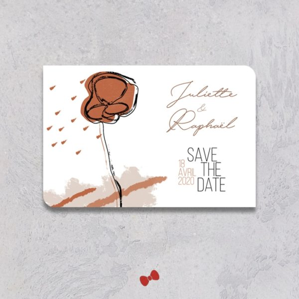 La fille au Noeud Rouge - Save the date mariage terracotta minimaliste