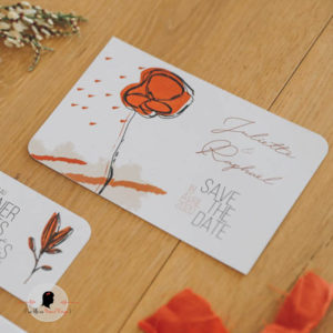 La fille au Noeud Rouge - Save the date mariage terracotta minimaliste photo