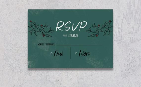 La fille au Noeud Rouge - coupon réponse rsvp mariage urbain végétal