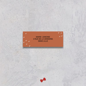 La fille au Noeud Rouge - étiquette adresse faire-part mariage terracotta minimaliste