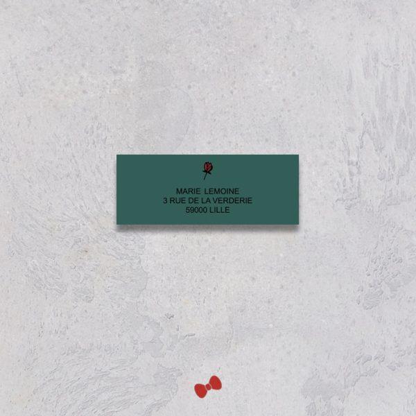 La fille au Noeud Rouge - étiquette adresses personnalisée mariage urbain végétal