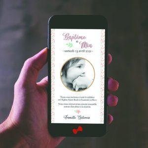 La fille au Noeud Rouge - faire-part baptême numérique liberty