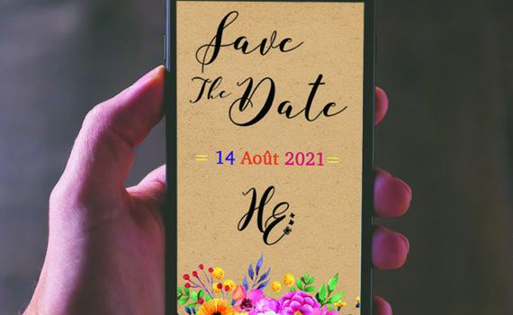 La fille au Noeud Rouge - faire-part mariage numérique kraft fleurs save the date