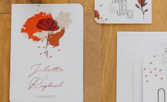 La fille au Noeud Rouge - faire-part mariage terracotta minimaliste
