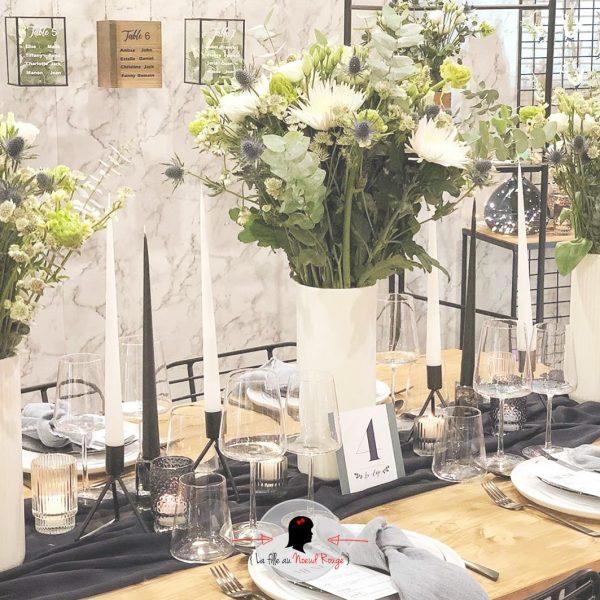 La fille au Noeud Rouge - papeterie mariage végétal blue vellum menu marque-place numéro de table