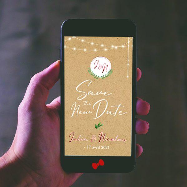 La fille au Noeud Rouge - save the new date mariage numérique kraft eucalyptus