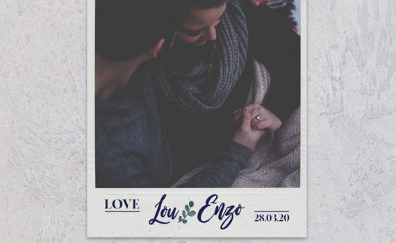 La fille au Noeud Rouge - save the date mariage photo blue vellum