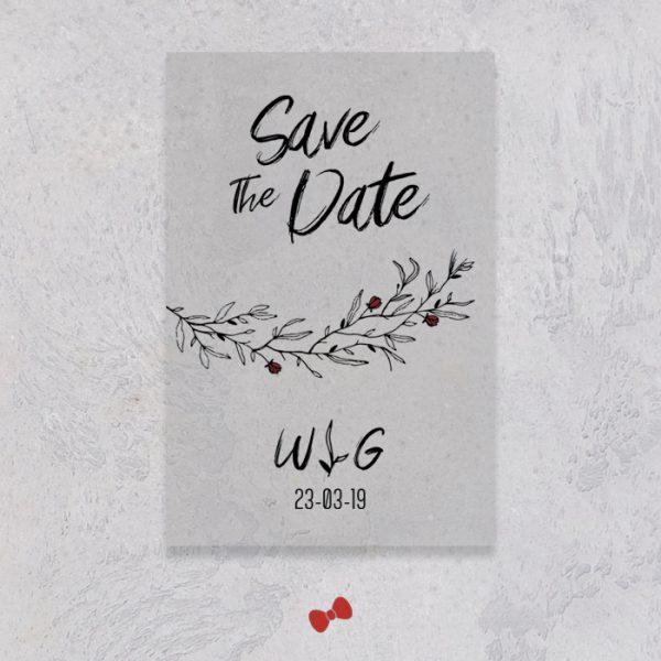 La fille au Noeud Rouge - save the date mariage urbain végétal