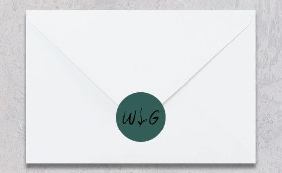 La fille au Noeud Rouge - stickers enveloppe mariage urbain végétal