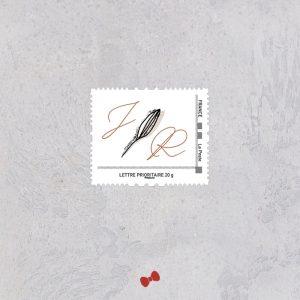La fille au Noeud Rouge - timbre faire-part mariage terracotta minimaliste