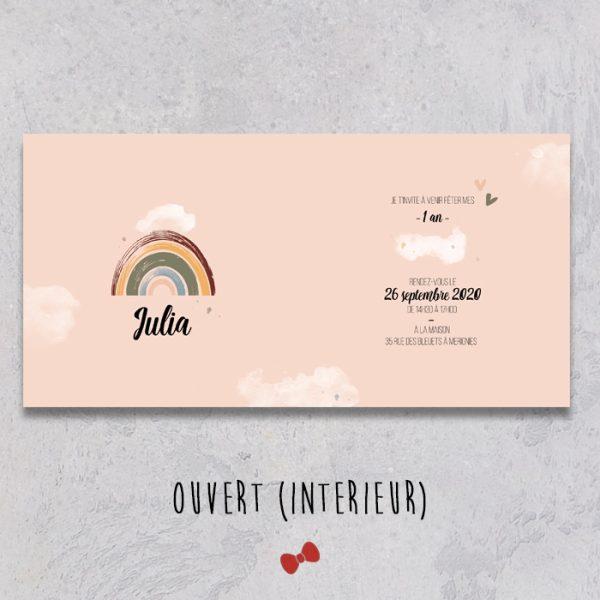 La fille au Noeud Rouge - Invitation anniversaire ouvert collection arc en ciel et merveilles